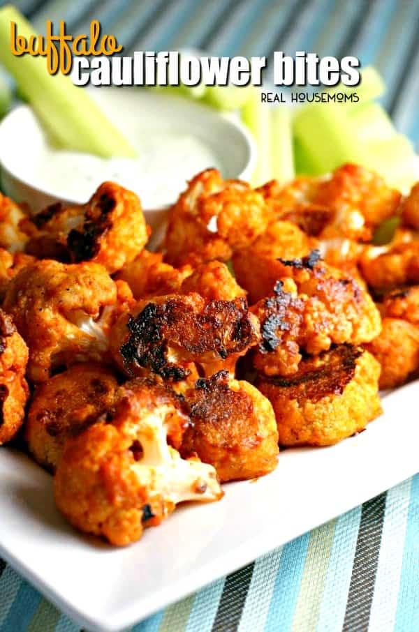 Cauliflower Chicken Wings  Buffalo Cauliflower Bites Healthy Appetizer Recipe
