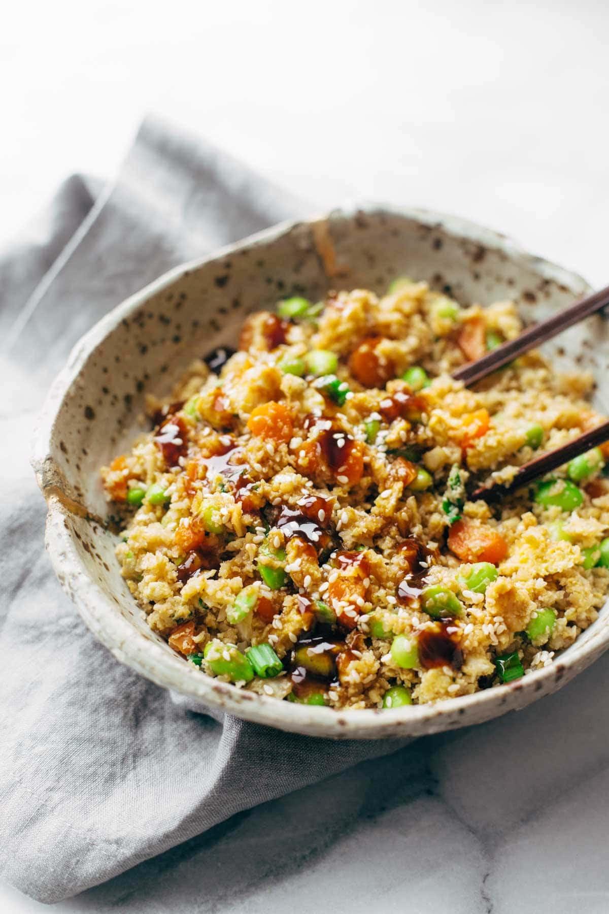 Cauliflower Fried Rice  15 Minute Cauliflower Fried Rice Recipe Pinch of Yum