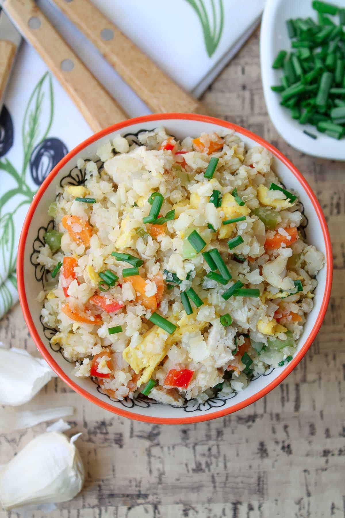 """Cauliflower Fried Rice With Chicken  Chicken & Cauliflower Fried """"Rice"""" Gluten Free & Paleo"""