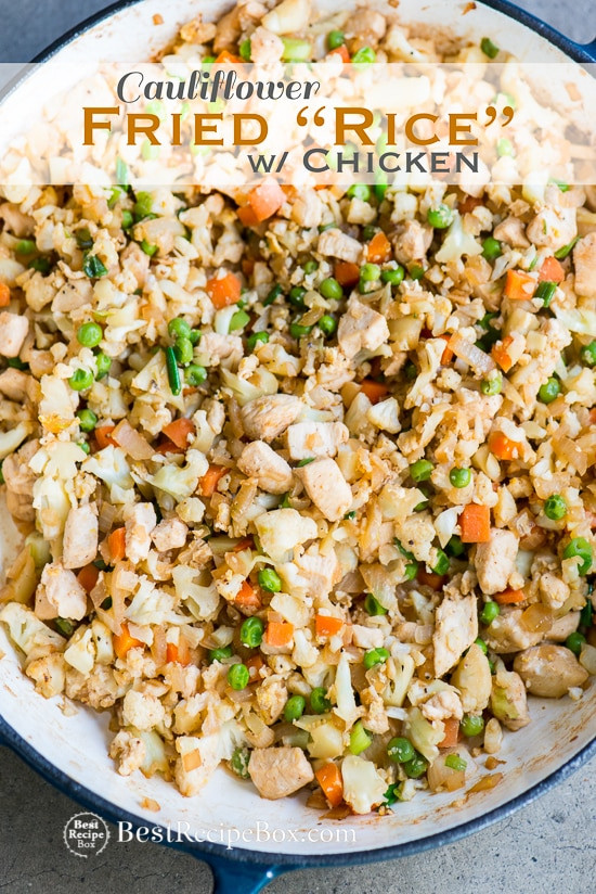 Cauliflower Fried Rice With Chicken  Healthy Chicken Cauliflower Fried Rice Recipe