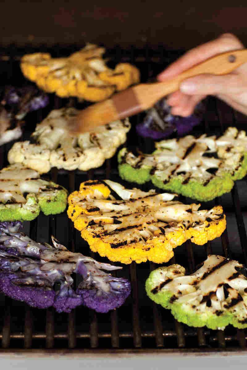 Cauliflower On The Grill  Recipe Grilled Cauliflower Steaks With Tahini Sauce NPR
