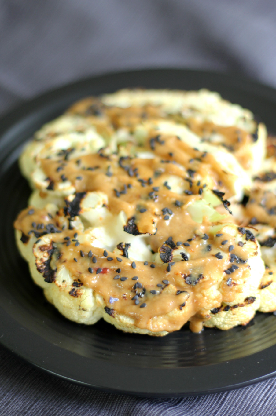 Cauliflower On The Grill  Grilled Ginger Cauliflower Steaks with Tahini Sauce