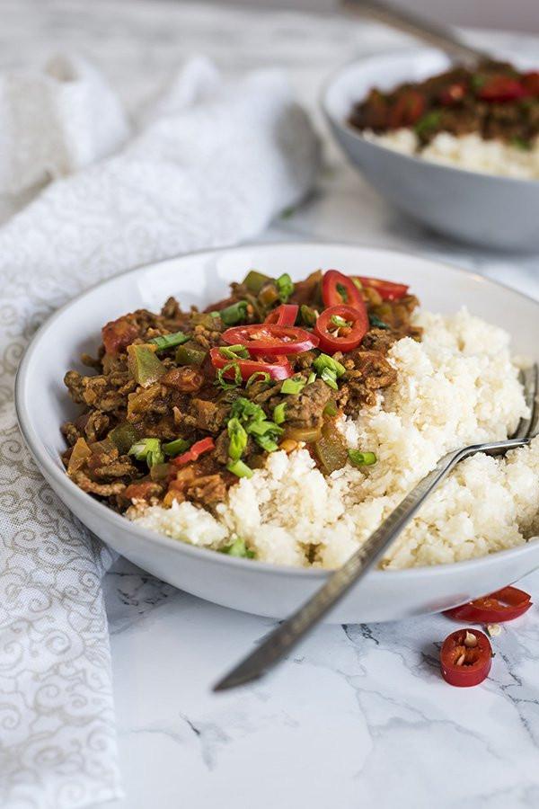 Cauliflower Rice Keto  Keto Slow Cooker Chili & Cauliflower Rice