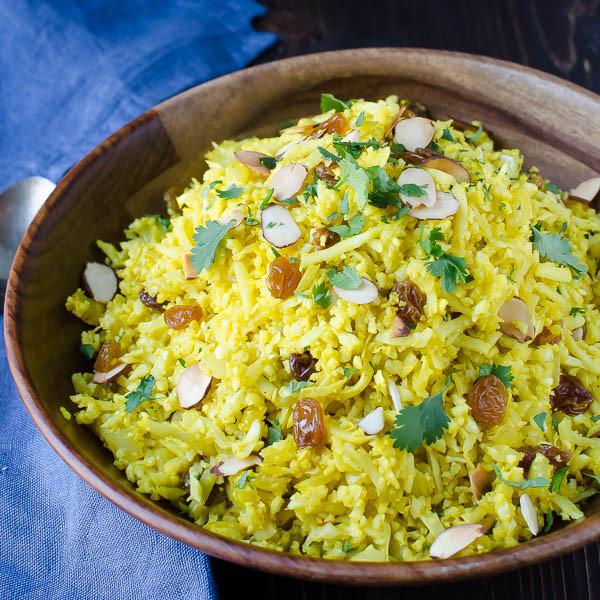 "Cauliflower Rice Pilaf  Curried Cauliflower ""Rice"" Pilaf"