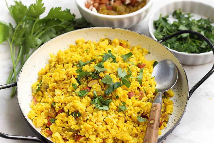 Cauliflower Rice Pilaf  Turmeric Cauliflower Rice Pilaf Recipe