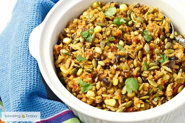 Cauliflower Rice Pilaf  Southwest Cauliflower Rice Pilaf with Toasted Pepitas Recipe