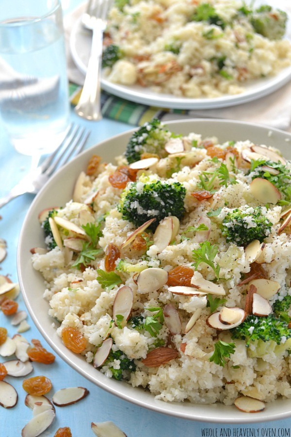 "Cauliflower Rice Pilaf  Broccoli Cauliflower ""Rice"" Pilaf"