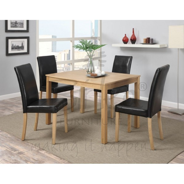 Cheap Dinner Tables  Cheap Birlea Cambridge Oak Dining Table Set with black