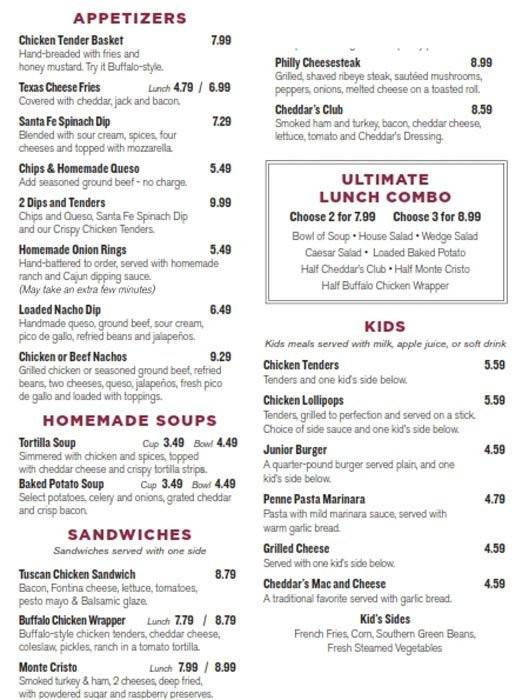 Cheddars Dessert Menu  cheddars drink menu prices