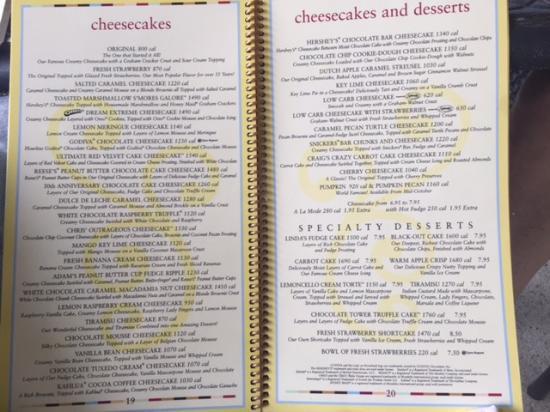 Cheese Cake Factory Menu  cheesecake factory cheesecake menu