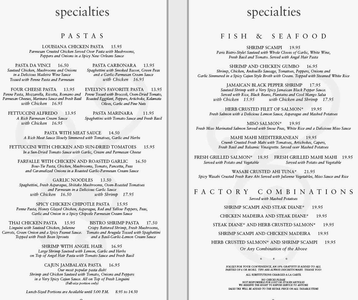 Cheese Cake Factory Menu  Cheesecake Factory Menu With Prices