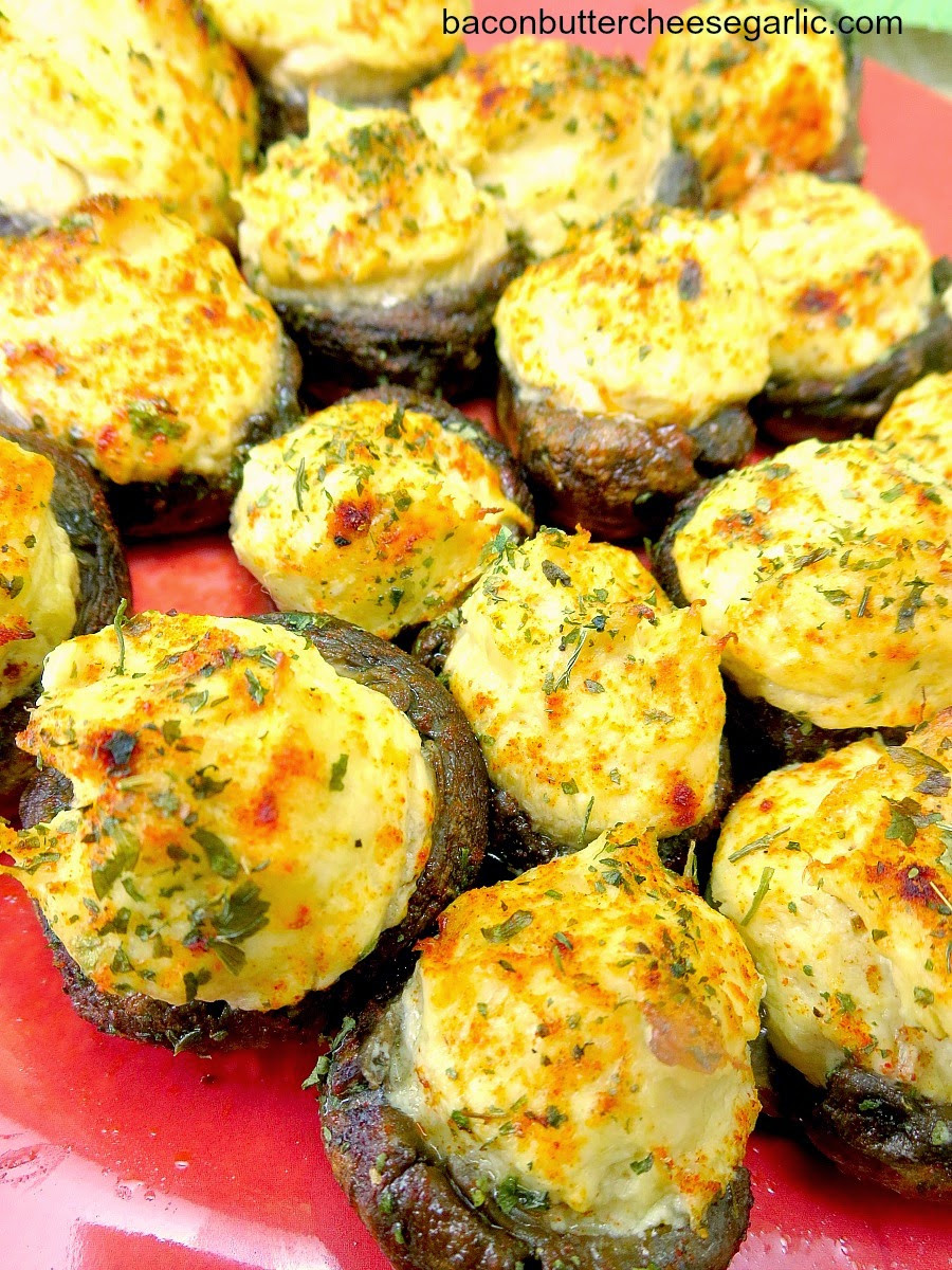 Cheese Stuffed Mushrooms  Bacon Butter Cheese & Garlic Bridal Shower Finger Foods