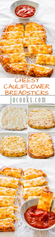 Cheesy Cauliflower Breadsticks  Cheesy Cauliflower Breadsticks Jo Cooks