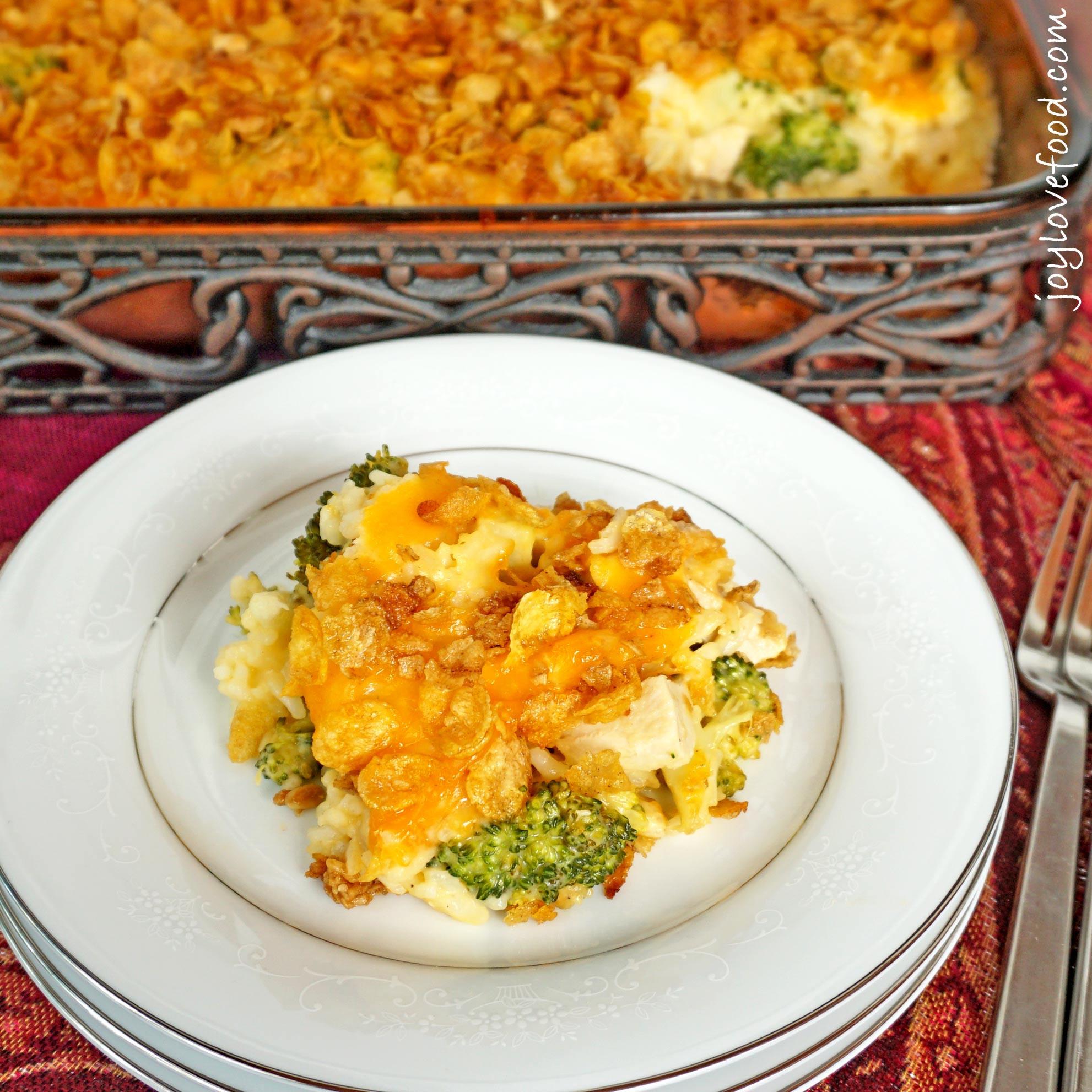 Cheesy Chicken And Rice Casserole  Cheesy Chicken Broccoli and Rice Casserole Joy Love Food