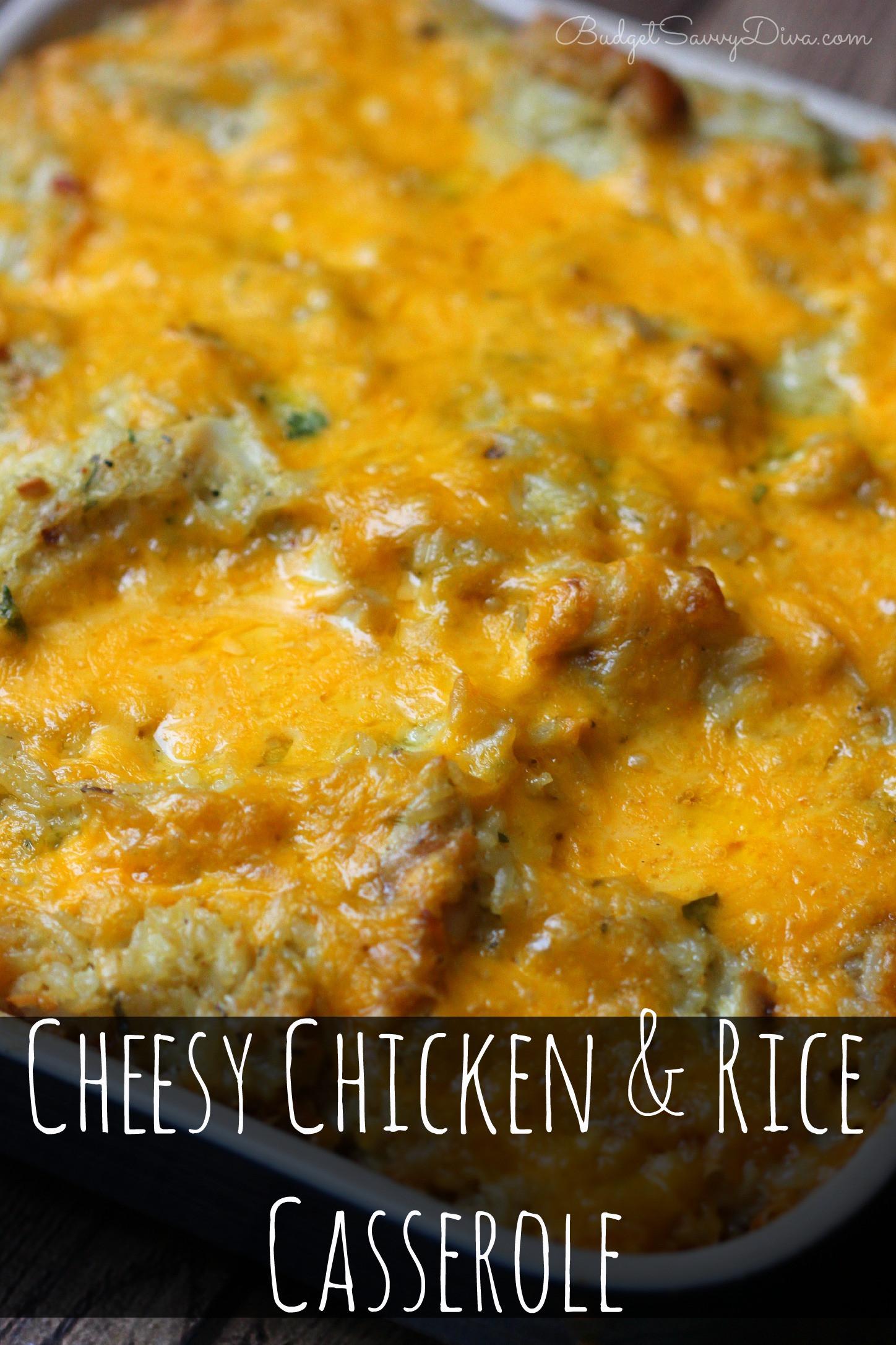 Cheesy Chicken And Rice Casserole  Cheesy Chicken and Rice Casserole Recipe