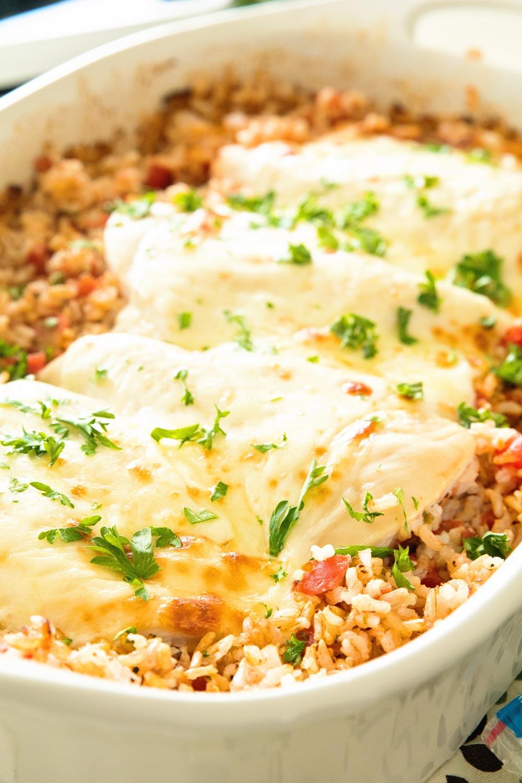 Cheesy Chicken And Rice Casserole  Italian Cheesy Chicken and Rice Casserole Recipe Julie s