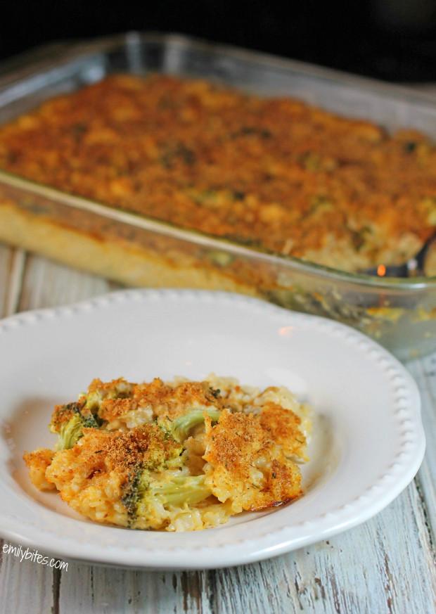 Cheesy Chicken Broccoli Casserole  Cheesy Chicken Broccoli and Rice Casserole Emily Bites
