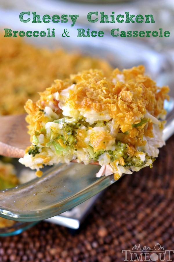 Cheesy Chicken Broccoli Casserole  Cheesy Chicken Broccoli and Rice Casserole Mom Timeout