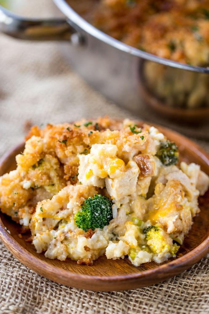 Cheesy Chicken Broccoli Casserole  Cheesy Chicken Broccoli Rice Casserole Dinner then Dessert