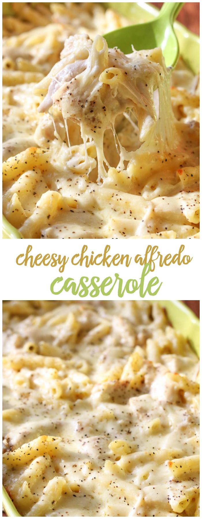 Cheesy Chicken Casserole  Best Chicken Alfredo Bake Recipe