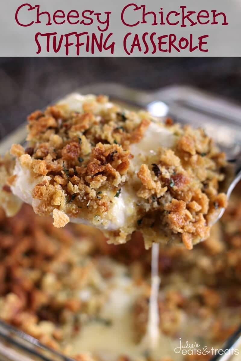 Cheesy Chicken Casserole  Cheesy Chicken Stuffing Casserole Recipe VIDEO Julie s