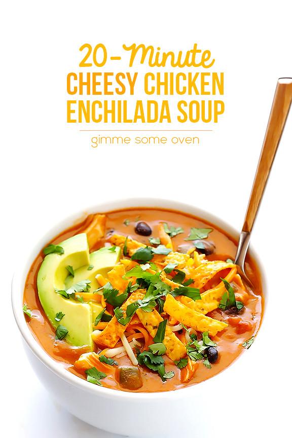 Cheesy Chicken Enchilada Soup  20 Minute Cheesy Chicken Enchilada Soup