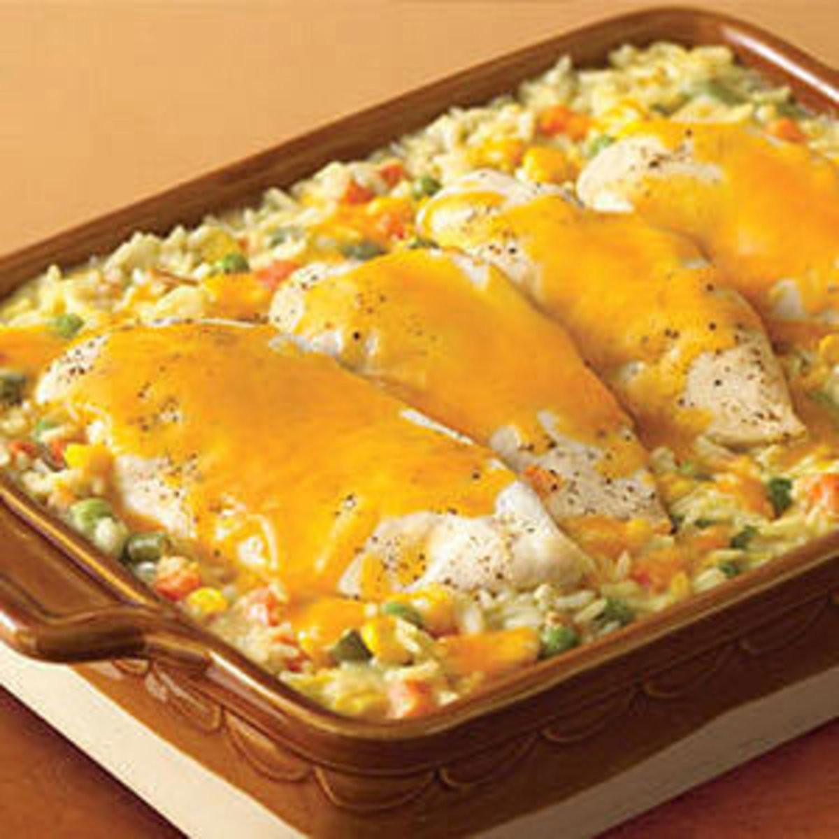 Cheesy Chicken Rice Casserole  Cheesy Chicken & Rice Casserole Rachael Ray Every Day