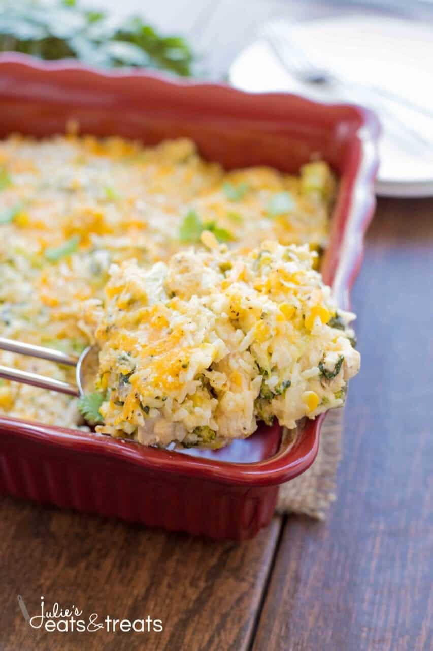 Cheesy Chicken Rice Casserole  Ve able and Cheesy Chicken Rice Casserole Recipe Julie