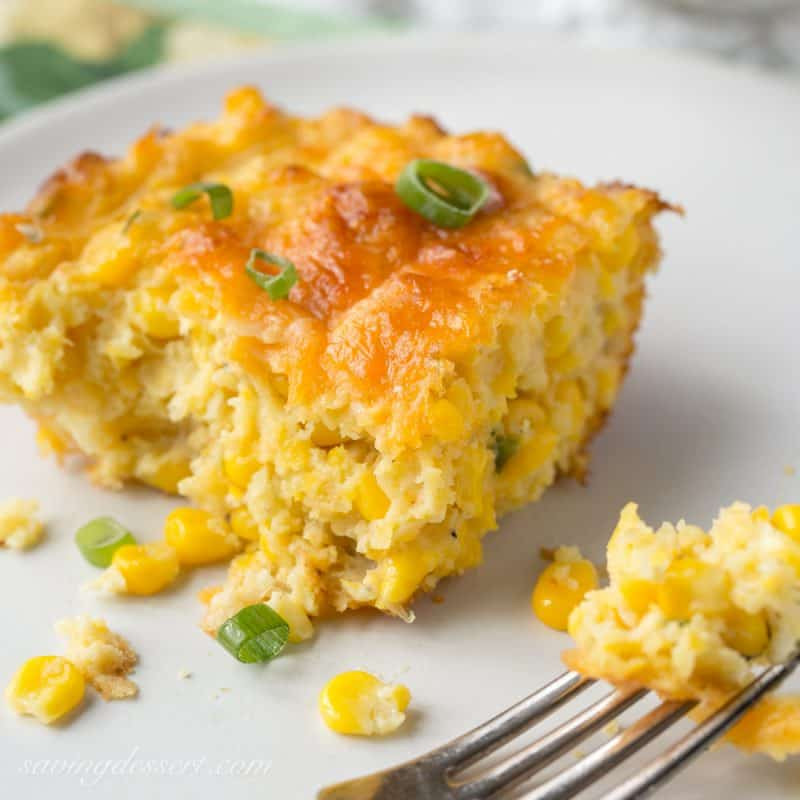 Cheesy Corn Casserole  Cheesy Corn Casserole with Jalapeños Saving Room for Dessert