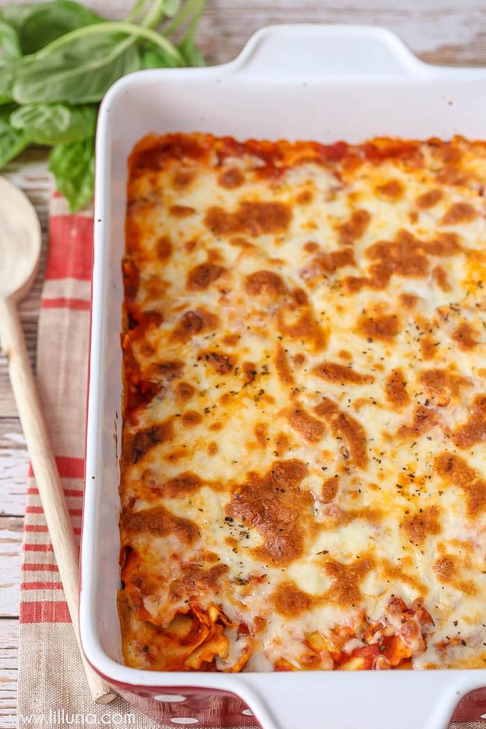 Cheesy Dinner Ideas  Easy Cheesy Ravioli Bake Lil Luna