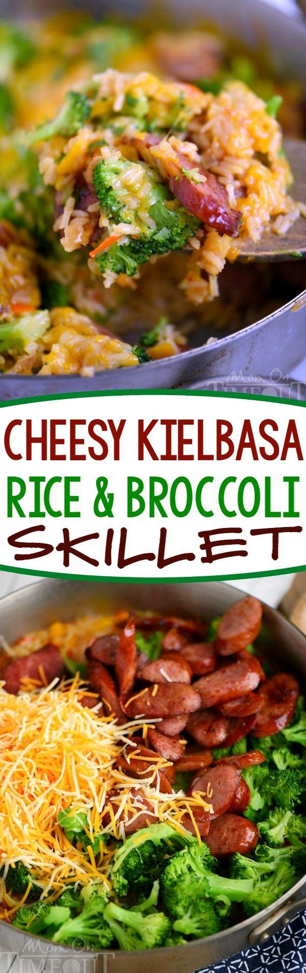 Cheesy Dinner Ideas  Cheesy Kielbasa Rice and Broccoli Skillet your new