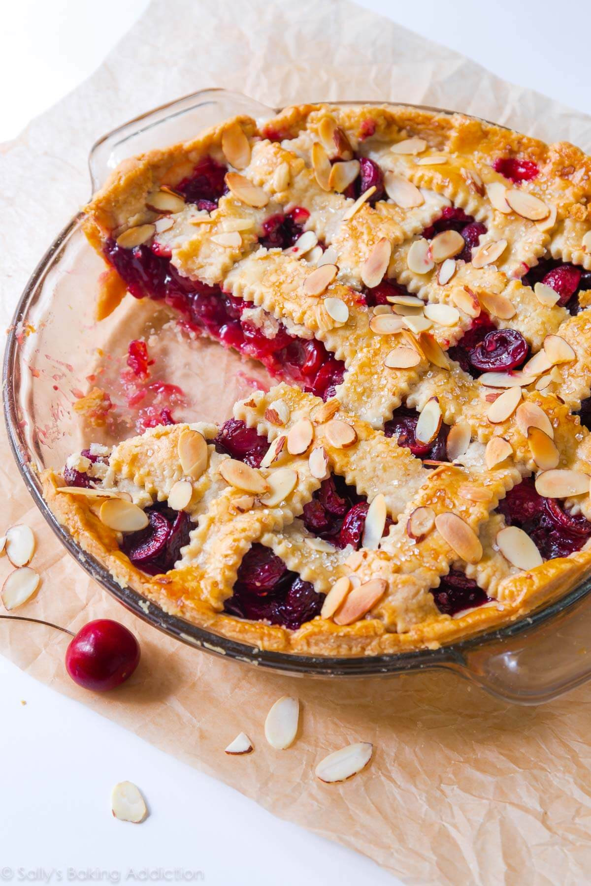 Cherry Pie Recipes  Sweet Cherry Pie with Toasted Almonds Sallys Baking