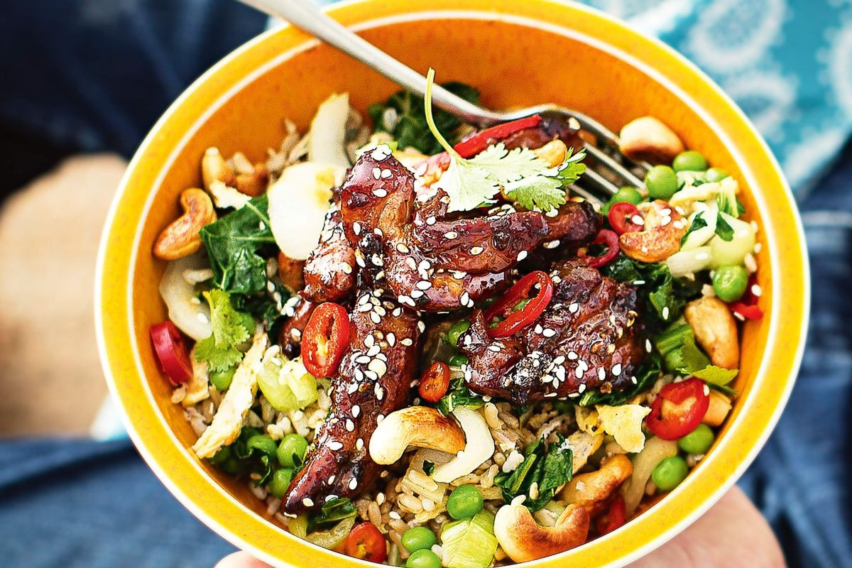 Chicken And Brown Rice  Sticky chilli chicken and brown rice bowl Recipes