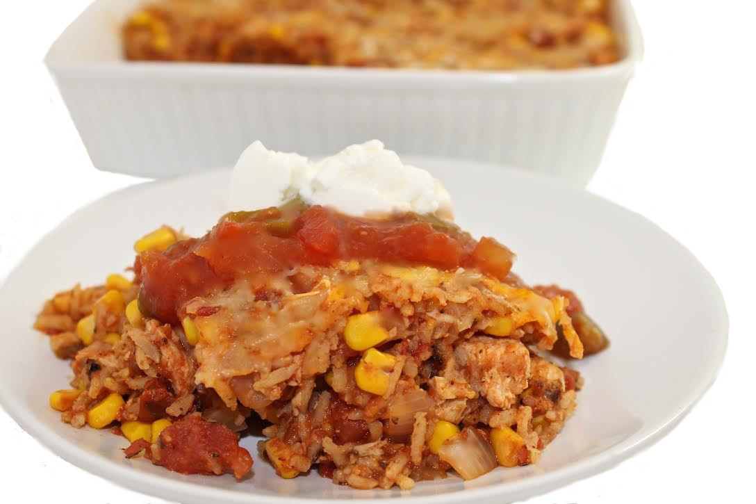 Chicken And Brown Rice Casserole  Skinny Mexican Chicken and Brown Rice Casserole with