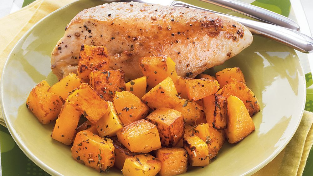 Chicken And Butternut Squash  Roasted Chicken and Butternut Squash recipe from Pillsbury