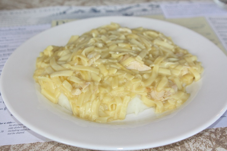 Chicken And Noodles Over Mashed Potatoes  Chicken noodles over mashed potatoes in Ohio s Amish