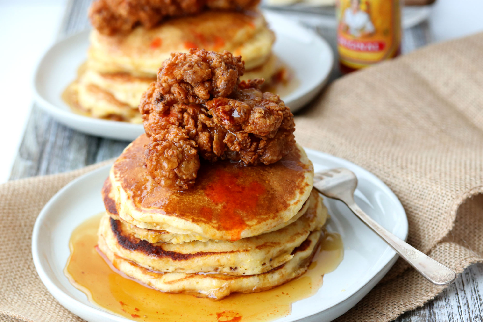 Chicken And Pancakes  Buttermilk Fried Chicken and Cornmeal Pancakes