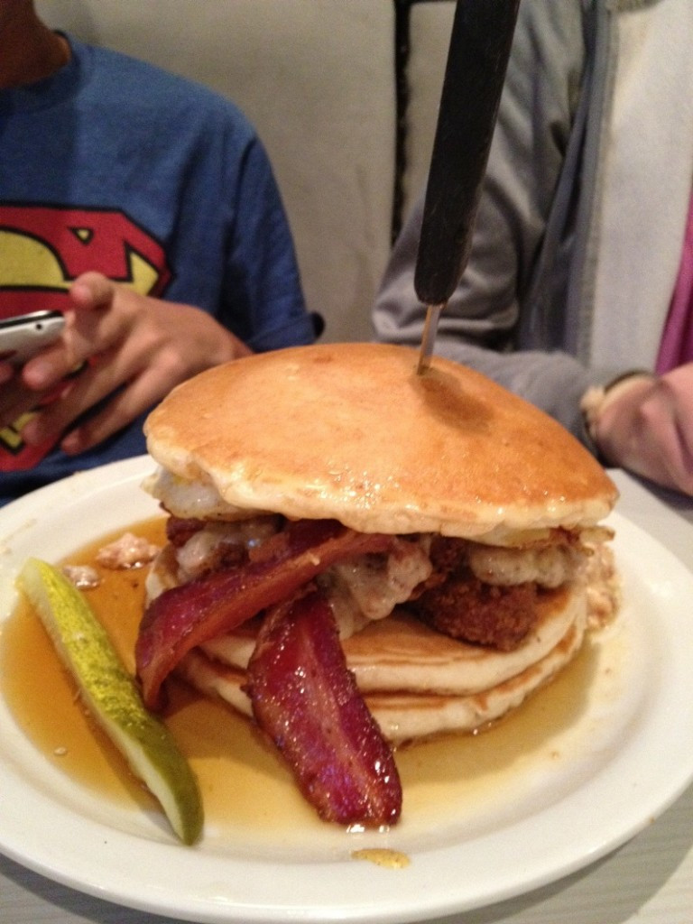 Chicken And Pancakes  Slaters 50 50 Most Eclectic Hamburgers You Will Ever Eat
