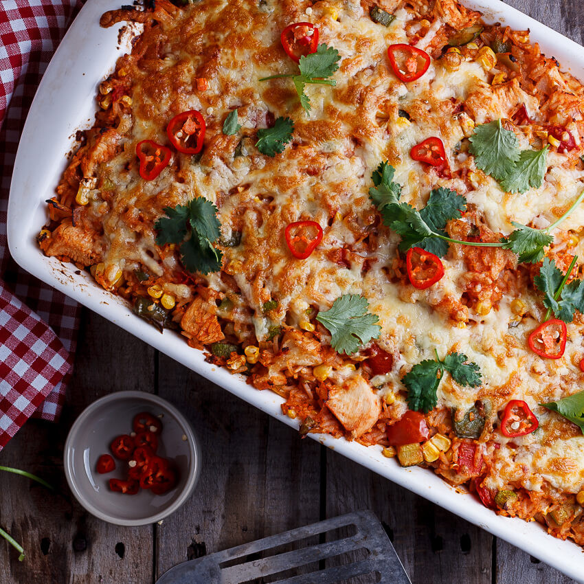 Chicken And Rice Casserole  Mexican chicken and rice casserole Simply Delicious