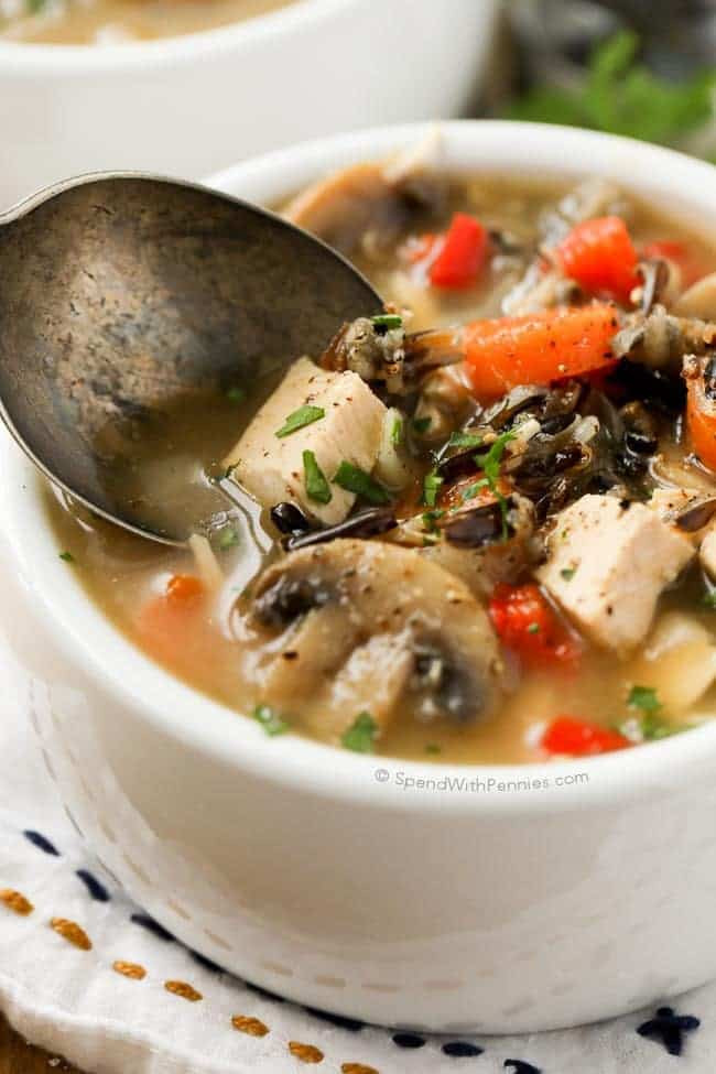 Chicken And Wild Rice Soup  Chicken Wild Rice Soup no cream Spend With Pennies