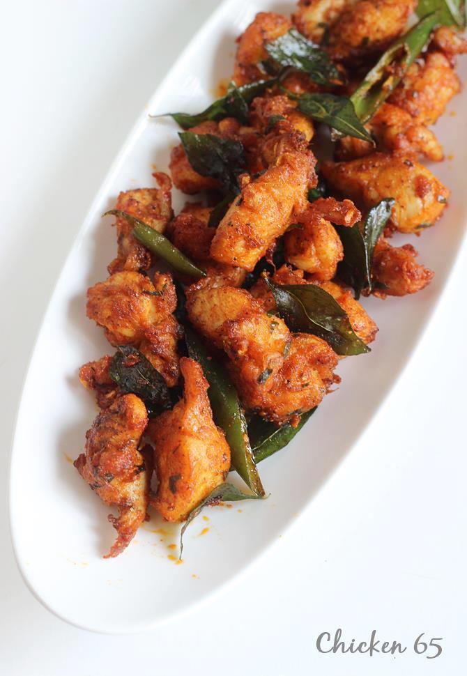 Chicken Appetizers Indian  Chicken 65 recipe dry & gravy