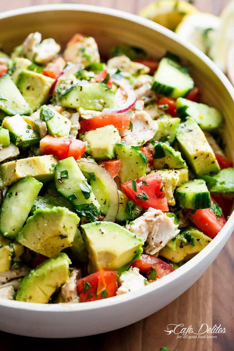 Chicken Avocado Salad  Chicken Cucumber Avocado Salad NO COOK Cafe Delites