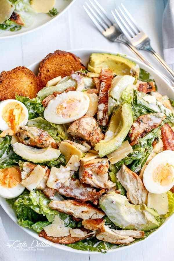 Chicken Caesar Salad Calories  Skinny Chicken and Avocado Caesar Salad
