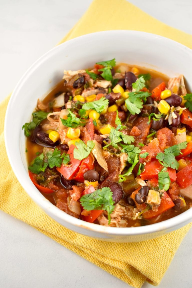 Chicken Chili Crock Pot  Crock Pot Chicken Taco Chili Recipe 0 Points LaaLoosh