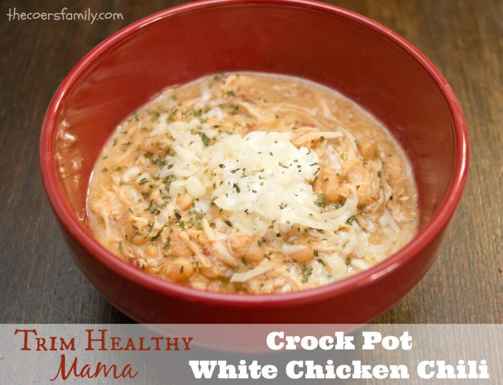 Chicken Chili Crockpot  Trim Healthy Mama style Crock Pot White Chicken Chili