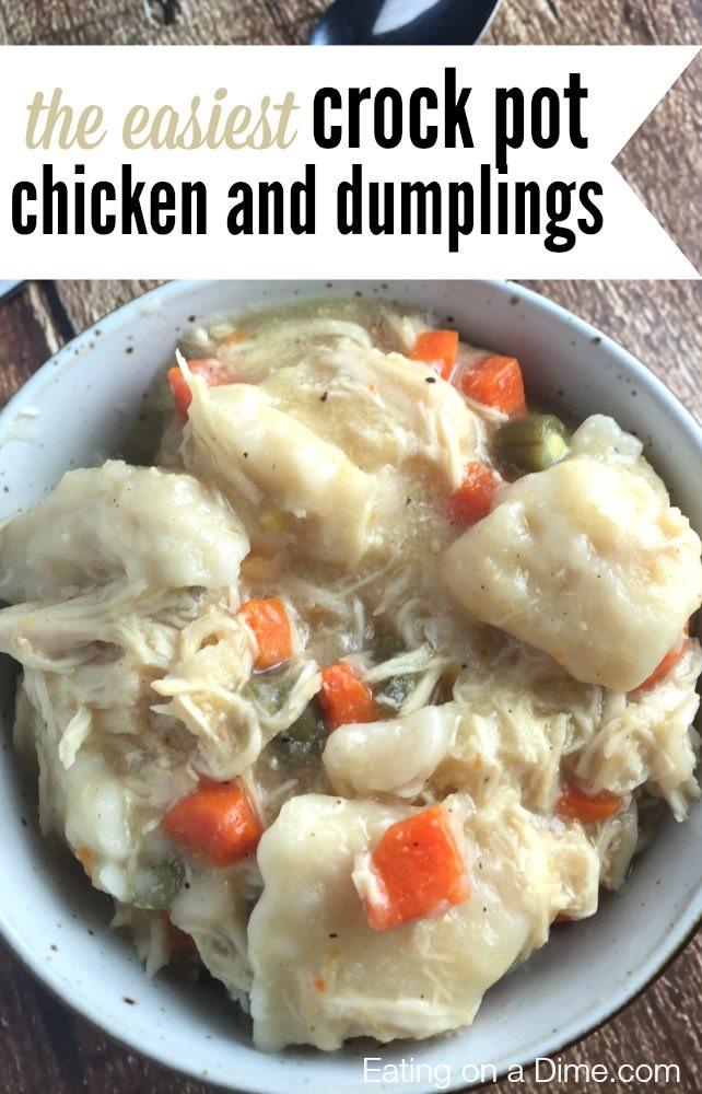 Chicken Dumplings Crock Pot  Crock pot Chicken and Dumplings Recipe Eating on a Dime