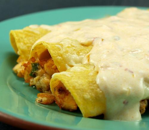 Chicken Enchiladas With Sour Cream Sauce  Chicken Enchiladas with Chipotle Sour Cream Sauce Evil