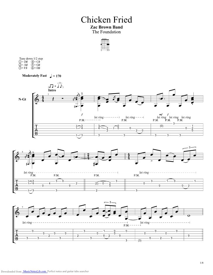 Chicken Fried Chords  Chicken Fried guitar pro tab by Zac Brown Band