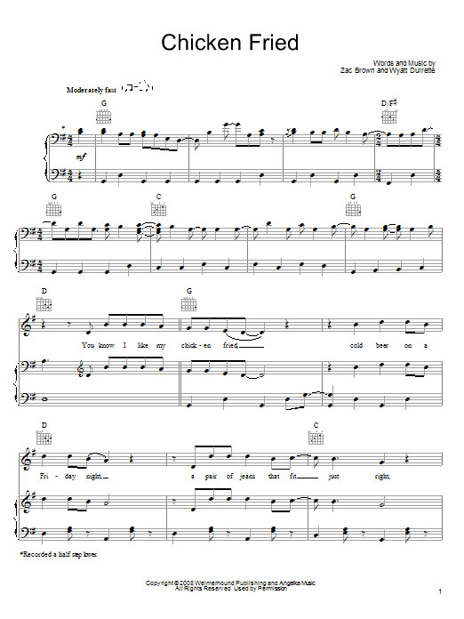 Chicken Fried Chords  Chicken Fried sheet music by Zac Brown Band Piano Vocal