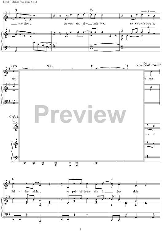 Chicken Fried Chords  Chicken Fried Sheet Music Music for Piano and More